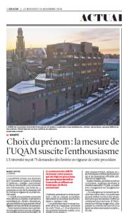 Le devoir L'UQAM permet à ses étudiants de «choisir» leur prénom Roxane Nadeau